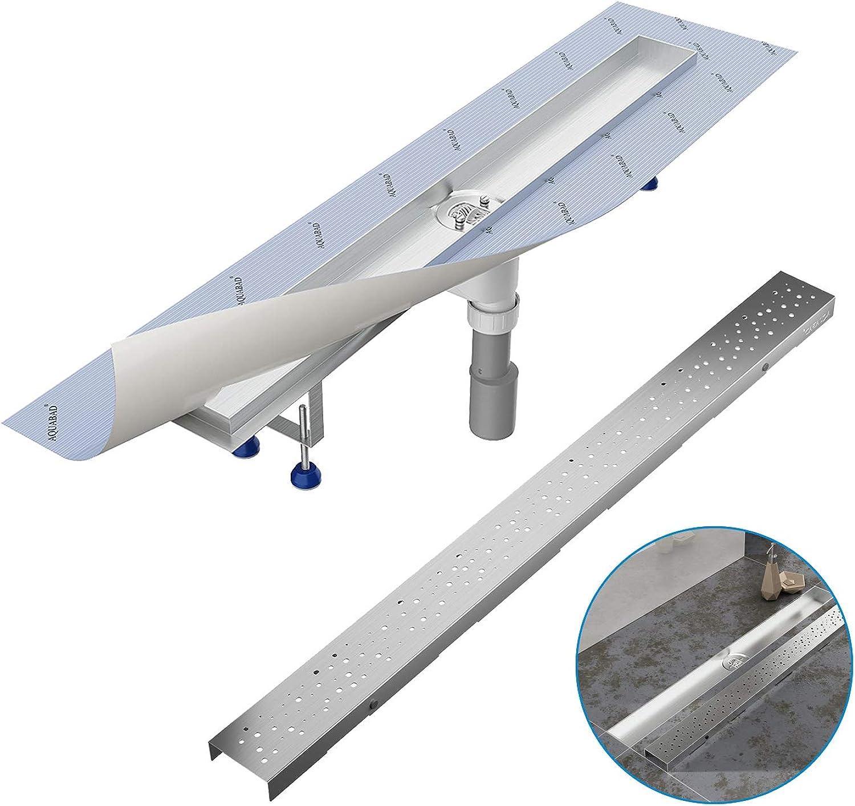 Komplett-SET - Duschrinne 60 cm AQUABAD SDS Pro aus Edelstahl inkl. Haarsieb, Abgang senkrecht, Blende REGEN  und Grundkrper-SET