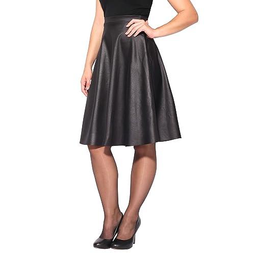 a15092e2f1 KRISP® Women Ladies PVC Leather A Line Swing High Waist Pleated Flared Full  Midi Skirt