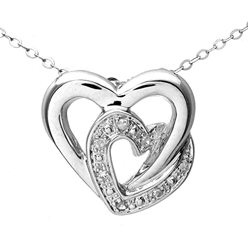 d7dced8f2f2d Naava Women s 9 ct White Gold Pave Set Diamond Double Heart Pendant and  Chain Necklace of