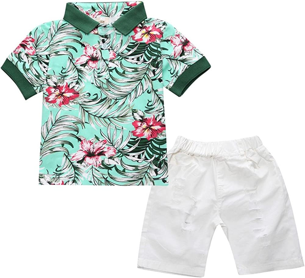 Little Boys Kids Baby Gentleman Flower Printed T-Shirts and Ripped Shorts Clothing Sets