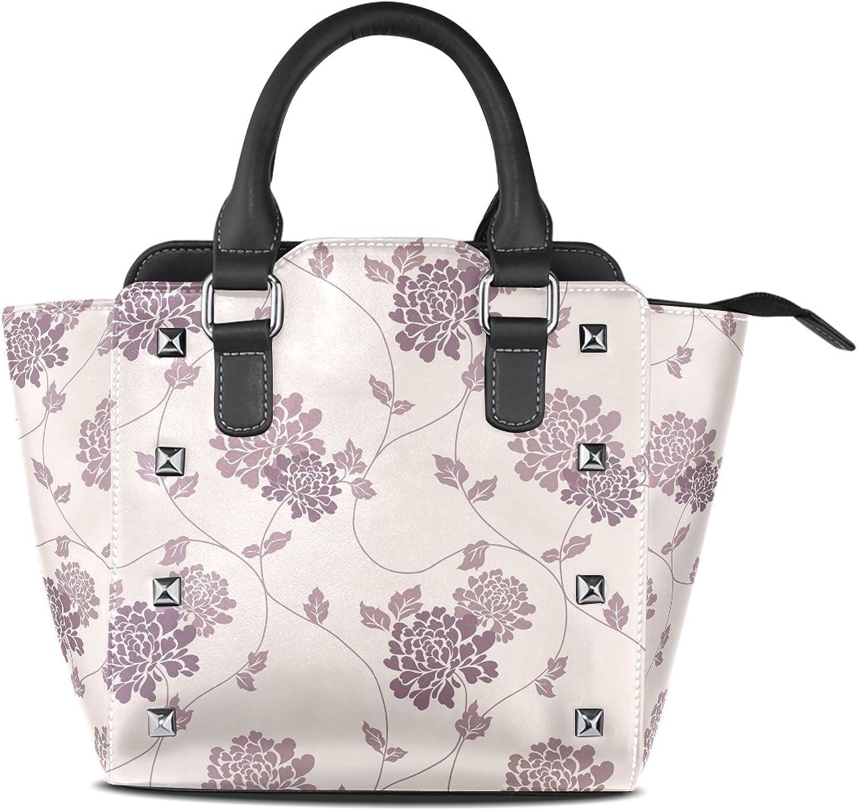 Sunlome Fashion Floral Flower Print Women's Leather Tote Shoulder Bags Handbags