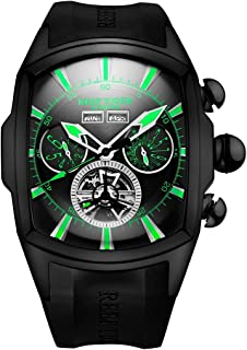 Reef Tiger Men's Sport Watches Big Black Steel Tourbillon Rubber Strap Huge Big Automatic Watch RGA3069