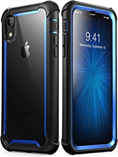 i-Blason Ares Full-Body Rugged Clear Bumper Case for iPhone XR 2018 Release, 6.1 inches, Blue
