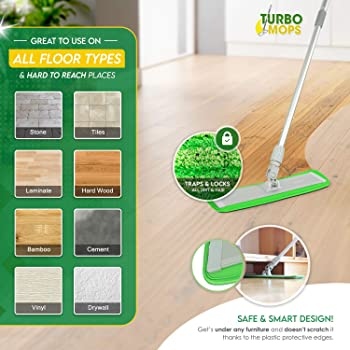 Microfiber Mop Floor Cleaning System - Washable Pads Perfect Cleaner for Hardwood, Laminate & Tile - 360 Dry Wet Reus...