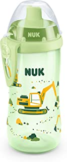 NUK 10255422 Flexi Cup with Straw 300 ml Leak-Proof and Shatter-Proof BPA-Free from 12 Months 1 Item Excavator Green