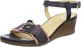 Geox Women's Mary Karmen 1 Wedge Sandal, Navy/White/red, 40 M EU (10 US)