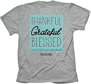 Women's Thankful Grateful Blessed T-Shirt - Grey -