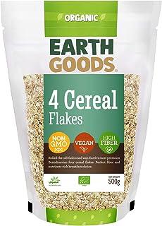 Earth Goods Organic 4 cereal flakes, NON-GMO, Vegan, High Fiber 500g