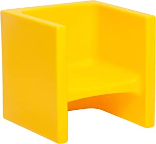 ECR4Kids Tri-Me 3-in-1 Cube Chair, Portable Indoor/Outdoor Play Seat or Table for Kids and Toddlers, Yellow