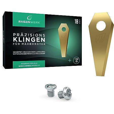 RASENWERK® - Set de cuchillas de calidad para robots cortacésped con tornillos compatibles – Hojas de repuesto universales para Bosch Indego – Aleación de carburo de titanio – 18 unidades