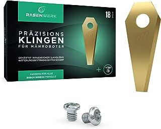 RASENWERK® - Set de cuchillas de calidad para robots cortacésped con tornillos compatibles – Hojas de repuesto universales...