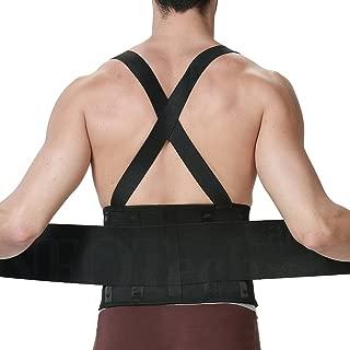 NEOtech Care Lumbar Support Belt with Suspenders for Men - Adjustable & Light - Back Brace Shoulder Holsters - Lower Back Pain, Work, Lifting, Exercise, Sport - Black (Size S)