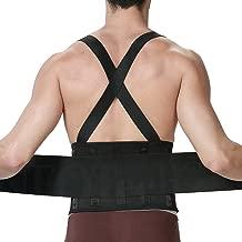 Lumbar Support Belt with Suspenders for Men - Adjustable & Light - Back Brace Shoulder Holsters - Lower Back Pain, Work, Lifting, Exercise, Sport - Neotech Care Brand - Black - Size L