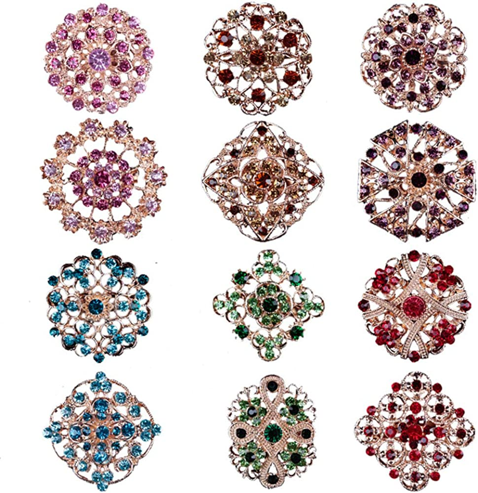 Lot 12pc Multi-Color Rhinestone Crystal Flower Brooches Pins