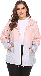 Women's Plus Size Raincoat Rain Jacket Lightweight Waterproof Coat Jacket Windbreaker with Hooded