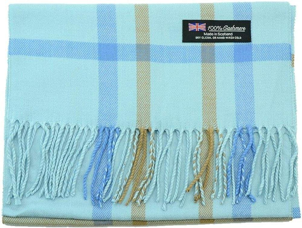 Blue - Classic Tartan Stripe Plaid Check Colored Scarf Made In SCOTLAND 100% CASHMERE
