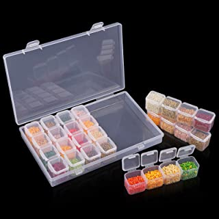 Ruisita Diamond Painting Storage Boxes 28 Grids Adjustable Storage Boxes for Dimond Picture Art Accessories Tool