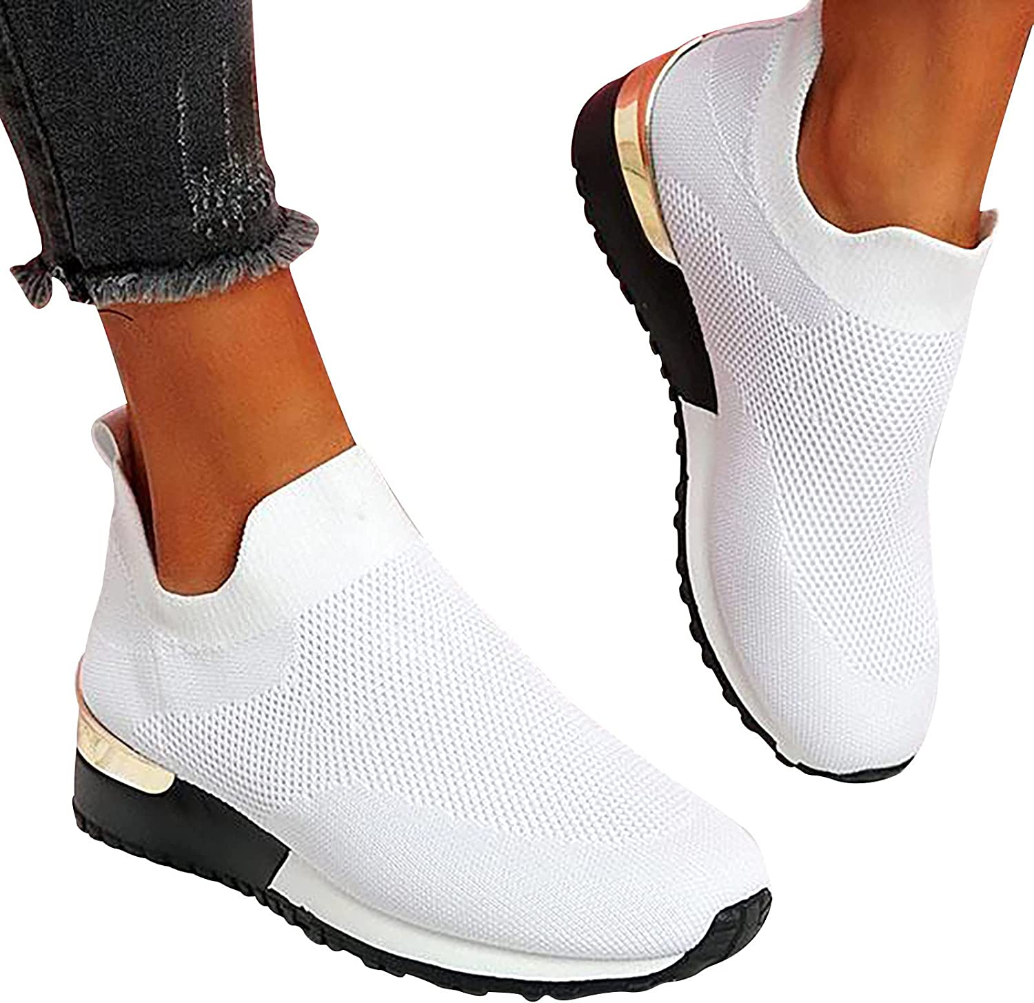 oiangi Women's Athletic Walking Shoes Casual Mesh-Breathable Com