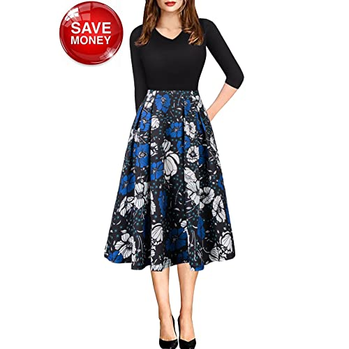 0c0343d36c159 Women Vintage Casual Swing 3/4 Sleeve Patchwork Floral Midi Dress with  Pockets for Work