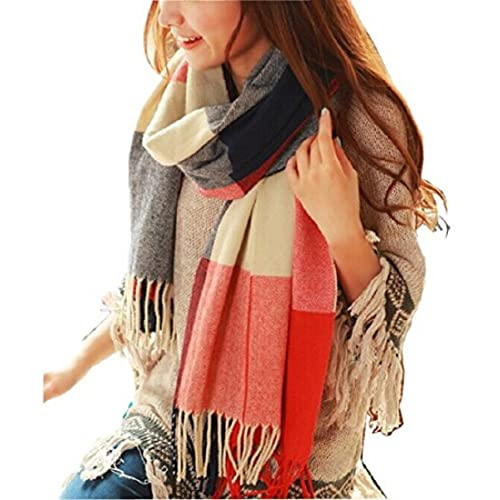 Wander Agio Women's Fashion Long Shawl Big Grid Winter Warm Lattice Large Scarf