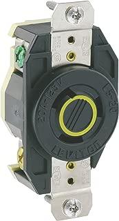 Leviton 2310 20 Amp, 125 Volt, Flush Mounting Locking Receptacle, Industrial Grade, Grounding, V-0-MAX, pack of 1, Black