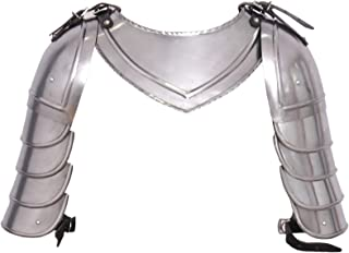 Medieval Gorget Spaulders Arm Neck & Shoulder Set Roman Greek Knight Pauldron Armor Silver