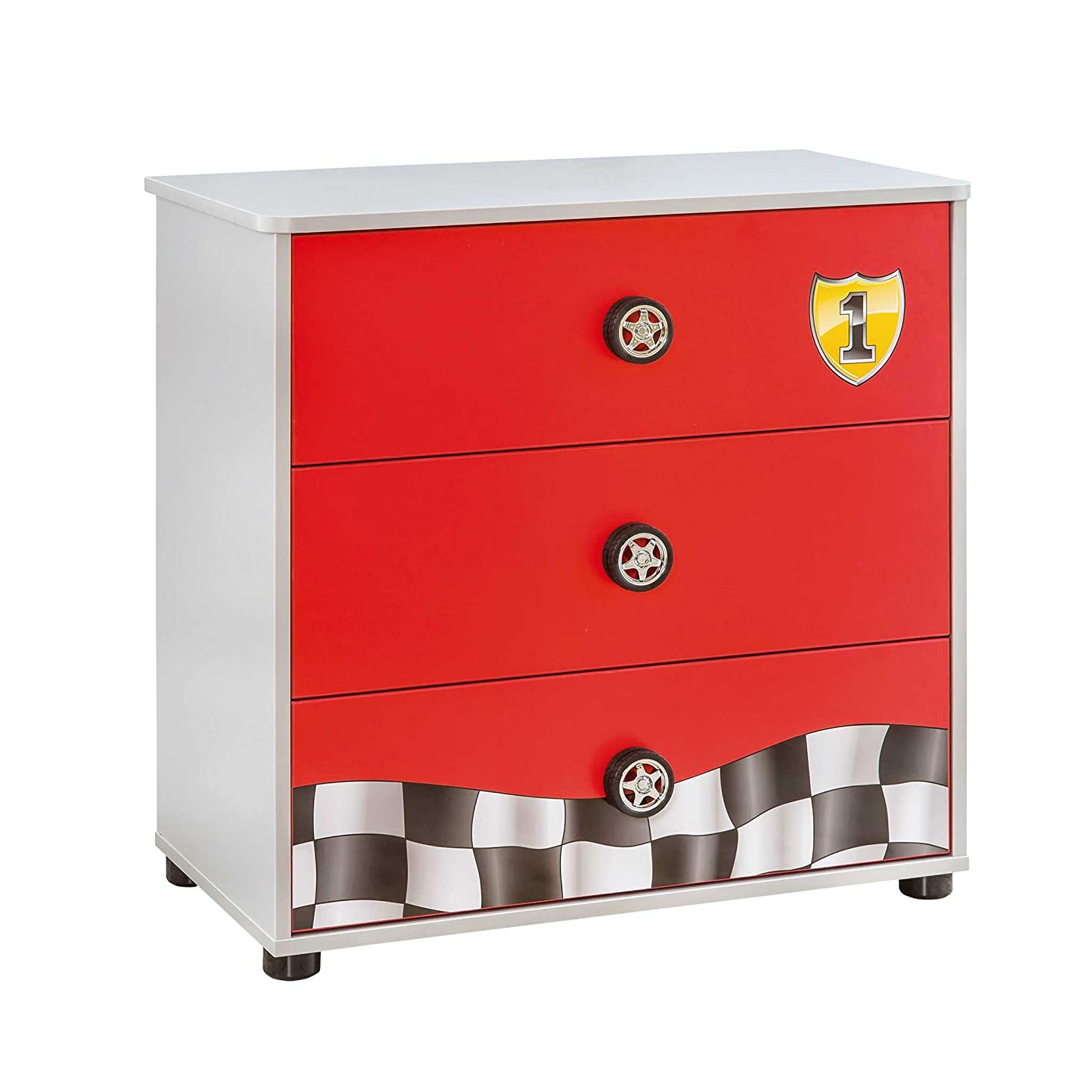 静けさ感染する不適切なCilek Race Cup 4 Drawer Dresser, Red 141[並行輸入]