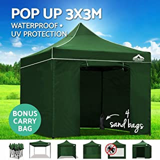 Instahut Pop Up Canopy 3x3m Portable Gazebo Tent with Sandbag Removable Sidewalls and Carry Bag-Green