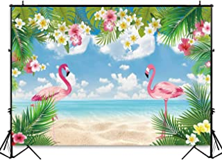Funnytree 7x5ft Summer Flamingo Party Backdrop Tropical Hawaiian Beach Luau Photography Background for Birthday Flamingle Sea Palm Floral Baby Shower Decorations Photo Booth Cake Table Banner