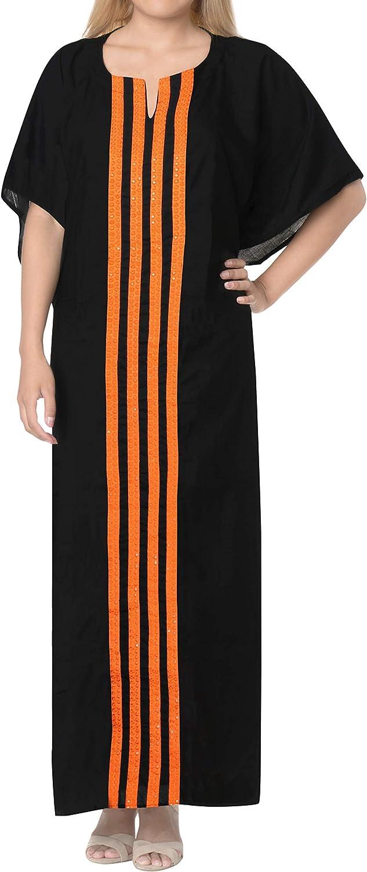 LA LEELA Women's Plus Size Kaftan Night Gown Swimsuit Cover Up Dress Drawstring