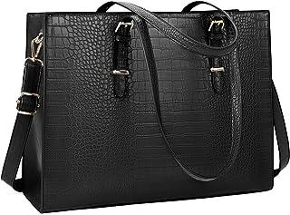 Lubardy Handtasche Damen Shopper Damen Groß Schwarz Laptop Tasche 15.6 Zoll Elegant PU Leder Umhängetasche Arbeitstasche f...