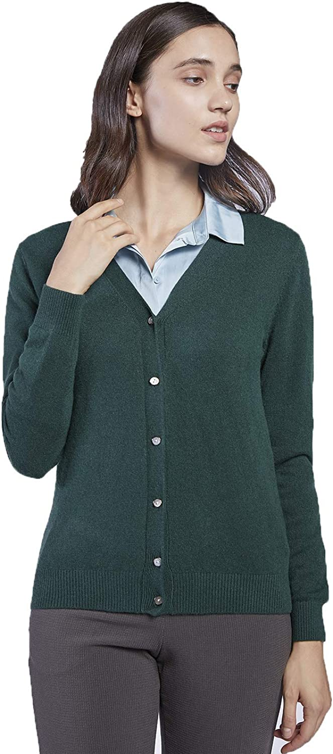 CHARIXI Women's 100% Pure Cashmere Long Sleeve VNeck Cardigan Sweater