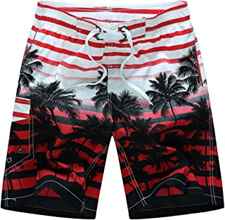 Vickyleb Mens Short Trunks Boys Summer Coconut Print Beach Pants Quick Dry Beach Broad Shorts with Mesh Lining