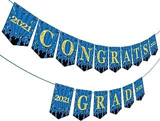 Congrats Grad Banner, Royal Blue Graduation Banner for Senior High College Graduation Party Decorations