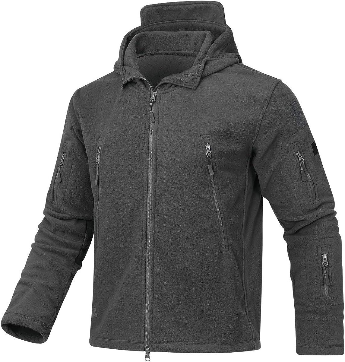 YYNUDA Men's Warm Fleece Hooded Jacket Outdoor Full-Zip Military Tactical Combat Sport Coats