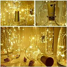 J Studio (5 Pack)2M 20LEDs Wine Bottle Cork String Light Copper Wire Starry Fairy Lights Battery Powered Warm White DIY, P...