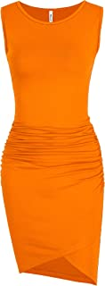Women's Casual Sleeveless Tank Ruched Bodycon Sundress Irregular Sheath T Shirt Dress