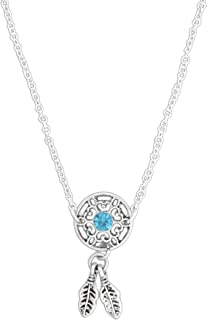 World End Imports Dream Catcher with Beautiful Blue Crystal Anklet on 8'' Link Chain with 2'' Extension