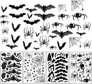 MAZIFLY Halloween Spider Webs Window Clings Decorations - Spiders Bats Decals Haunted House Decorations Window Decals Halloween Decorations for Indoor Outdoor Décor Holiday Party Supplies 4 Sheets
