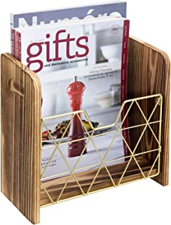 MyGift Contemporary Burnt Wood and Geometric Brass Wire Magazine Holder Wall Mounted Basket Rack