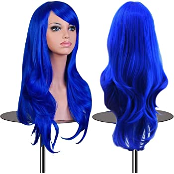 Amazon Com Mapofbeauty Fashion Girl Natural Short Straight Wigs Diagonal Bangs Wigs Navy Blue Ladies Hair Replacement Wigs Beauty
