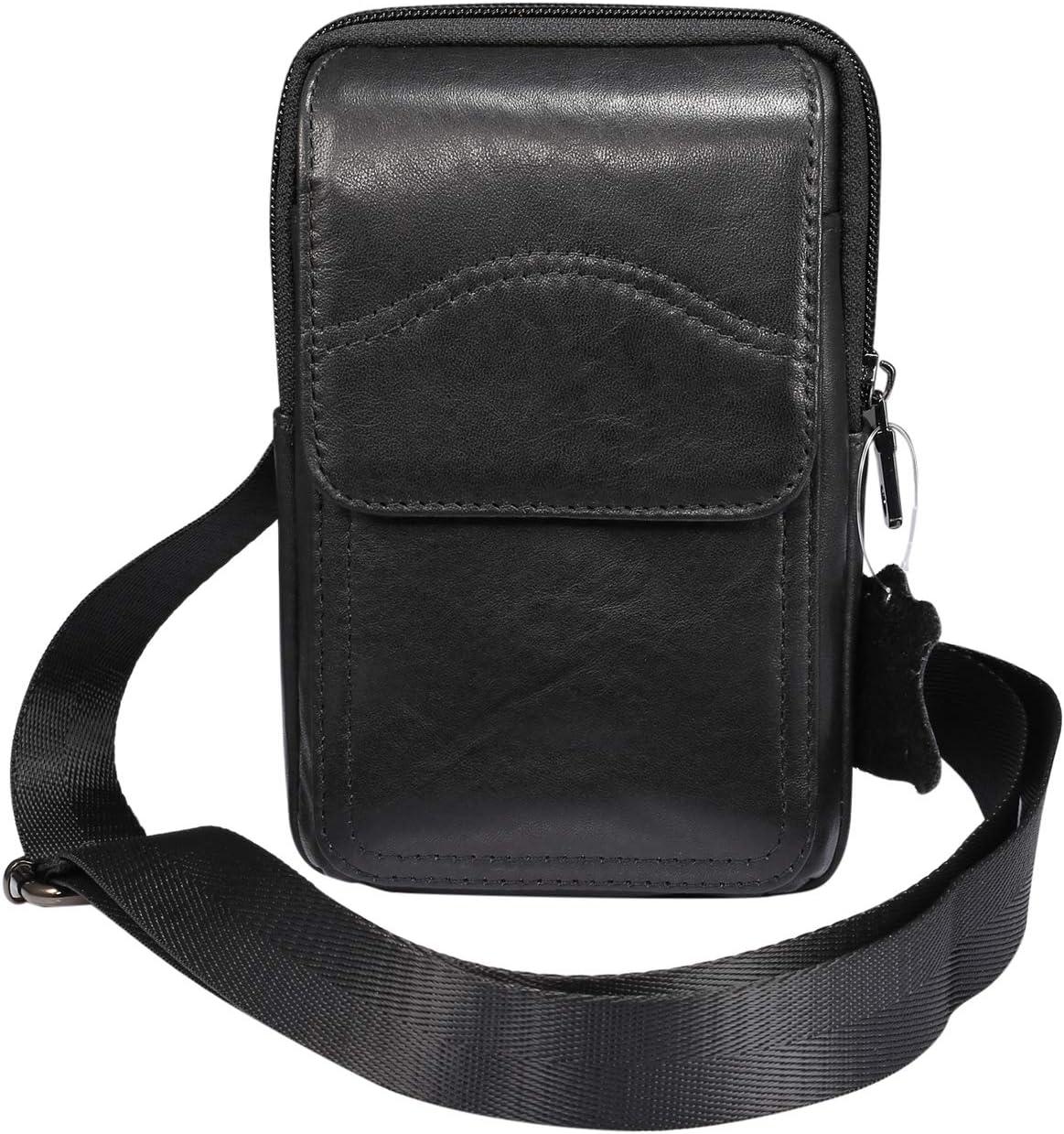 Genuine Leather Cell Phone Belt Holster Waist Bag Crossbody Purse Travel Bag for Galaxy S20+ S10 Plus,A30s,A10s,A50,Note9,Note 8, Google Pixel 4 XL,Xiaomi Mi 9T, Redmi 8A,OnePlus 7T,BLU Vivo XL5-Black