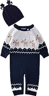 ZOEREA Unisex Neugeborenes Baby Strick Strampler Lange Ärmel Watte Warme Pullover Elch Hirsche Muster mit Antlers Hut für Weihnachten 0-22 Monate