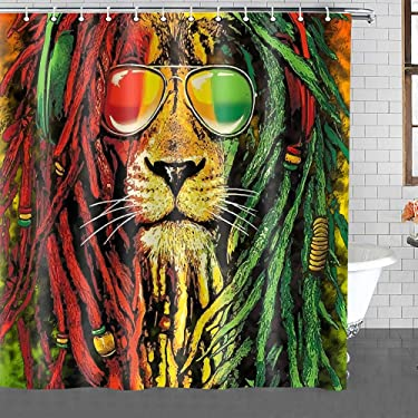 Rasta Shower Curtain,Lion Head Bob Dirty Braid Backdrop Print Shower Curtain Machine Washable Fabric Home Bathroom Privacy Psychedelic Decor Set with Hooks 72x72inch YLHXTE66