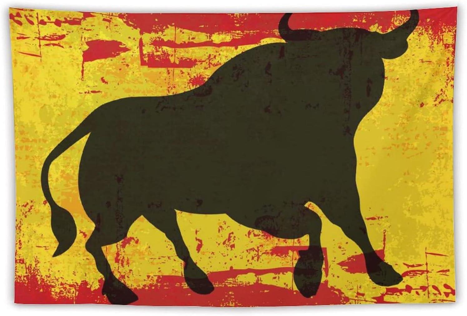 Manta Tapiz Para Colgar En Pared,Un toro sobre una bandera de España Grunged en Spanis, Estera Picnic Decoración Sala Estar,60x90