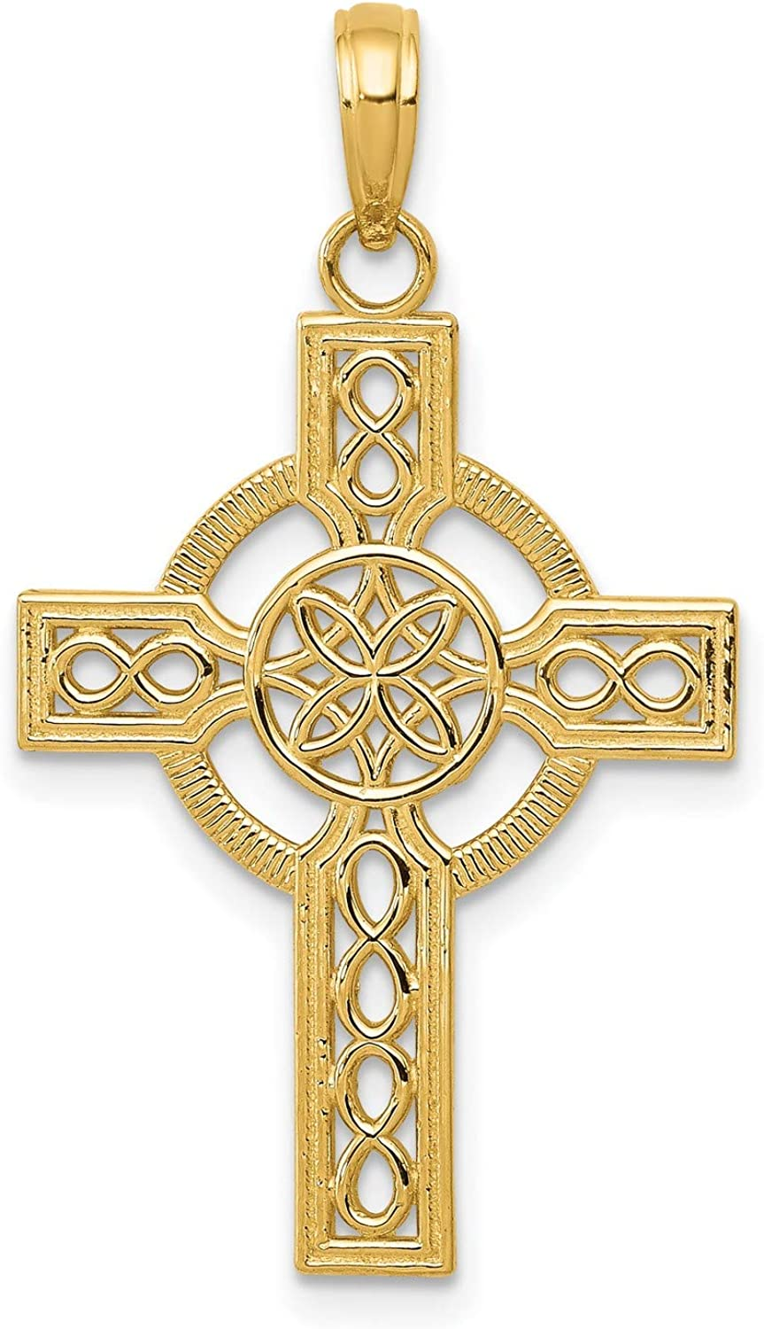 Max 72% OFF Textured High 35% OFF Cross Pendant with Celtic Real in Pattern Knot 14k