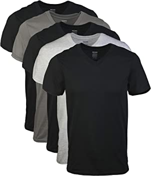 5-Pack Gildan Mens Assorted V-Neck T-Shirts