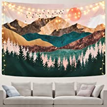 OTSUN Mountain Tapestry Wall Hanging Nature Landscape Forest Tree Sunset Tapestry Mural for Bedroom, Living Room, Dorm, Art Home Decoration (Sunset Forest Mountain Tapestry, 59.1 X 82.7)