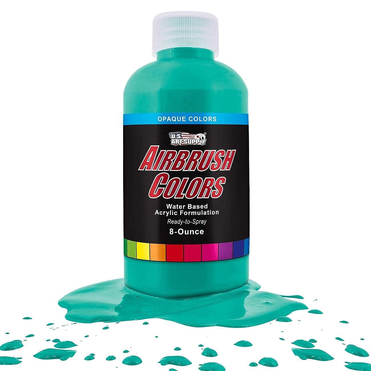 US Art Supply Aqua Blue Opaque Acrylic Airbrush Paint 8 oz.