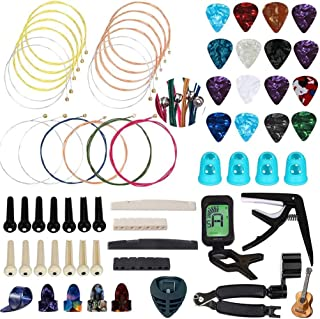 66 Pcs Guitar Accessories Kit Including Acoustic Guitar Strings Guitar Picks Guitar Feet Capo Tuner String Cutter String W...